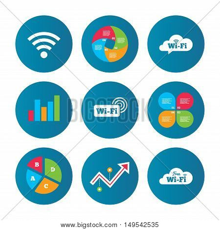 Business pie chart. Growth curve. Presentation buttons. Free Wifi Wireless Network cloud speech bubble icons. Wi-fi zone sign symbols. Data analysis. Vector