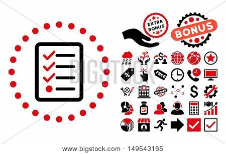 Checklist icon with bonus pictures. Glyph illustration style is flat iconic bicolor symbols, intensive red and black colors, white background.