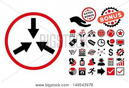 Collide Arrows pictograph with bonus elements. Glyph illustration style is flat iconic bicolor symbols, intensive red and black colors, white background.
