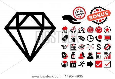 Diamond icon with bonus clip art. Glyph illustration style is flat iconic bicolor symbols, intensive red and black colors, white background.