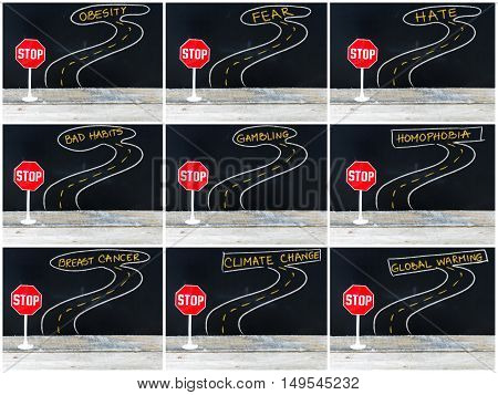 Mini Stop Sign On The Road, Hand Drawing Over Chalkboard
