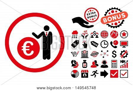 Euro Economist pictograph with bonus elements. Glyph illustration style is flat iconic bicolor symbols, intensive red and black colors, white background.