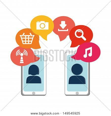 Social network icon connection cellphone people global