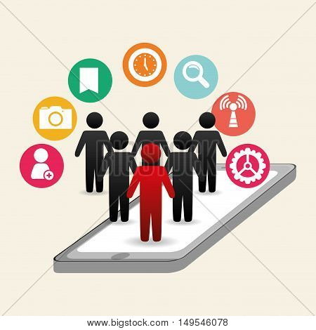 Social network cellphone above icon people networking