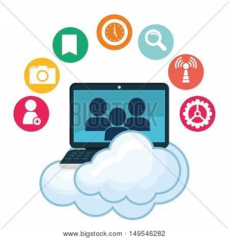 Social network cloud computer person icon message