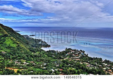 HDR image of the island of Moorea in the French Polynesia with her exuberant vegetation laggon and mountains.