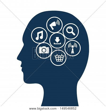 Social network man thought icon information global