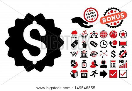 Financial Reward Seal icon with bonus clip art. Glyph illustration style is flat iconic bicolor symbols, intensive red and black colors, white background.