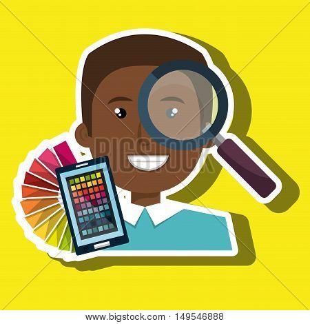 man smartphone color chart idea vector illustration eps 10