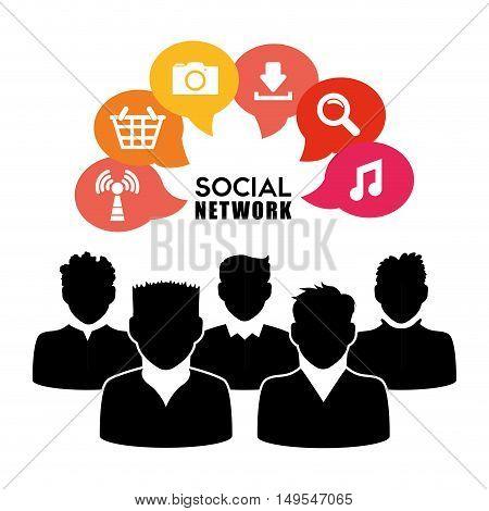 Social network peopke cloud icon information global