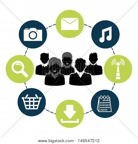 Social network global around person icon information