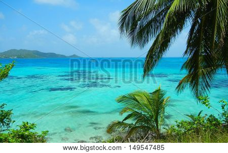 Landscape view of turquoise Caribbean Sea and lush green tropical island of San Andres y Providencia Colombia