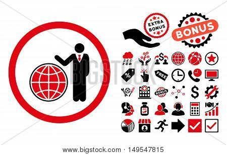 Global Manager pictograph with bonus pictogram. Glyph illustration style is flat iconic bicolor symbols, intensive red and black colors, white background.