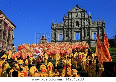 MACAU MACAU - FEBRUARY 072016 - Ruins Of Saint Paul's Cathedral during the celebration of the chinese new year. Dragon Dances for Chinese New Year.