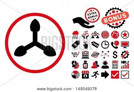 Isometric Arrows pictograph with bonus pictogram. Glyph illustration style is flat iconic bicolor symbols, intensive red and black colors, white background.