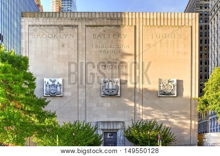 New York City - September 11, 2016: The Hugh L. Carey Tunnel (formerly called the Brooklyn Battery Tunnel) in New York City NY. The tunnel bridges Brooklyn and Manhattan.
