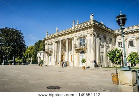 WARSAW POLAND - SEPTEMBER 27: Southern facade of the Lazienki Palace the Palace on the Water or the Palace on the Isle in Royal Baths Park Lazienki Park in Warsaw Poland on September 27 2016