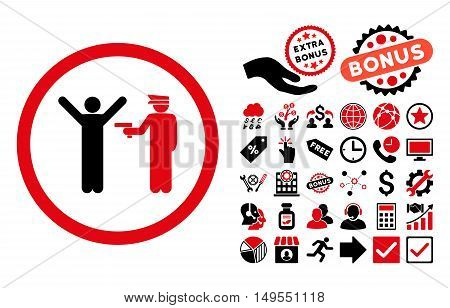 Police Arrest icon with bonus elements. Glyph illustration style is flat iconic bicolor symbols, intensive red and black colors, white background.