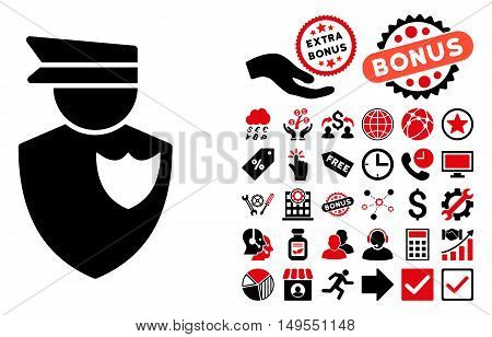 Policeman pictograph with bonus design elements. Glyph illustration style is flat iconic bicolor symbols, intensive red and black colors, white background.