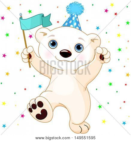 Illustration of cute polar bear celebrating