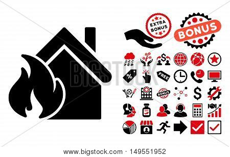 Realty Fire Disaster pictograph with bonus pictogram. Glyph illustration style is flat iconic bicolor symbols, intensive red and black colors, white background.