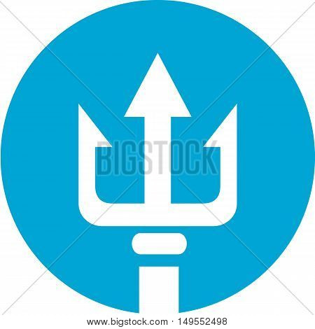 Icon illustration of a trident three-pronged spear set inside circle on isolated background.