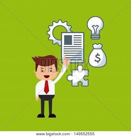 businessman avatar with bussines flat icons vector illustration design