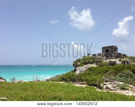 Mayan ruins by the sea, Tulum, Mexico