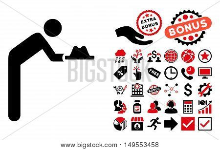 Servant With Hat icon with bonus pictures. Glyph illustration style is flat iconic bicolor symbols, intensive red and black colors, white background.