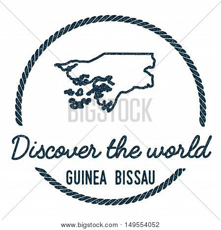 Guinea-bissau Map Outline. Vintage Discover The World Rubber Stamp With Guinea-bissau Map. Hipster S