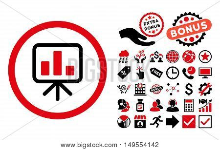 Slideshow Screen icon with bonus elements. Glyph illustration style is flat iconic bicolor symbols, intensive red and black colors, white background.