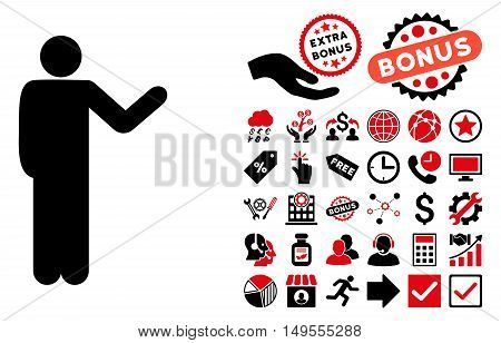 Talking Man icon with bonus pictogram. Glyph illustration style is flat iconic bicolor symbols, intensive red and black colors, white background.
