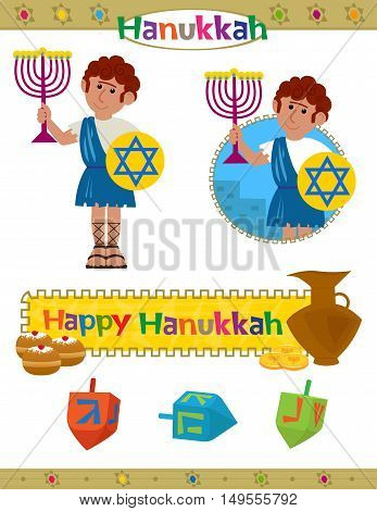Cute Hanukkah set with happy Hanukkah banner, dreidels and a Maccabeus soldier holds a menorah. Eps10