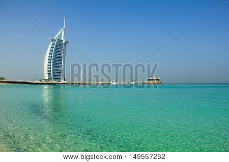 DUBAI UAE - MAY 13: Burj Al Arab Hotel on May 13 2012 in Dubai. Repeatedly voted the world's most luxurious hotel.