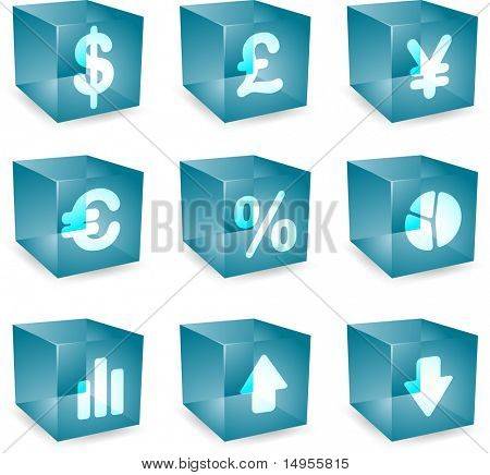 Finance symbols icon set over translucent cubes