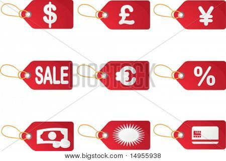 Shopping sales labels with promotion discount icons