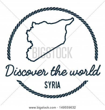 Syrian Arab Republic Map Outline. Vintage Discover The World Rubber Stamp With Syrian Arab Republic