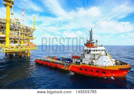 Offshore construction platform for production oil and gas, Oil and gas industry and hard work,Production platform and operation process by manual and auto function, oil and rig industry and operation.