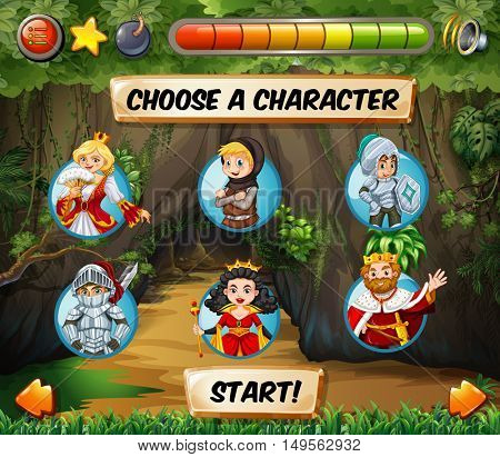 Computer game template with fairytales characters illustration