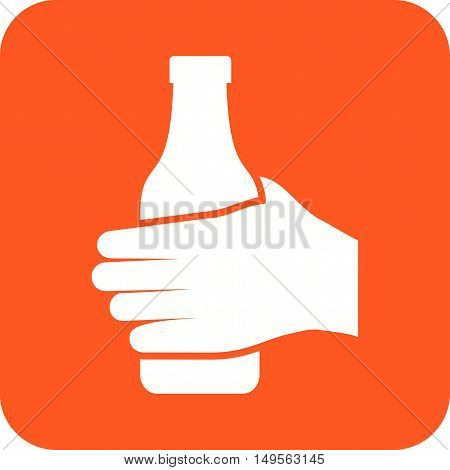 Bottle, hand, juice, icon vector image. Can also be used for hand actions. Suitable for use on web apps, mobile apps and print media.