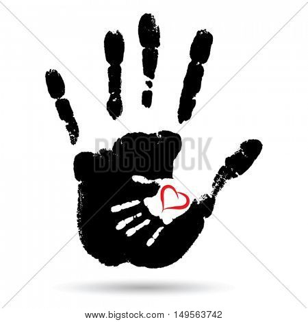 Vector conceptual cute paint hand of mother child and heart shape isolated on white background for art, care, childhood, family, fun, happy, infant, symbol, kid, little, love, mom, motherhood, young