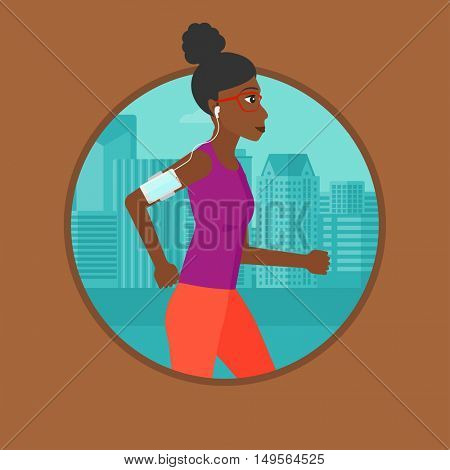An african-american woman running with earphones and armband for smartphone. Woman listening to music during running in the city. Vector flat design illustration in the circle isolated on background.