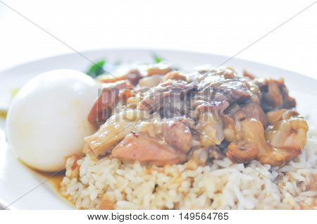 pork stewed with boiled egg on rice dish