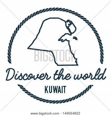 Kuwait Map Outline. Vintage Discover The World Rubber Stamp With Kuwait Map. Hipster Style Nautical