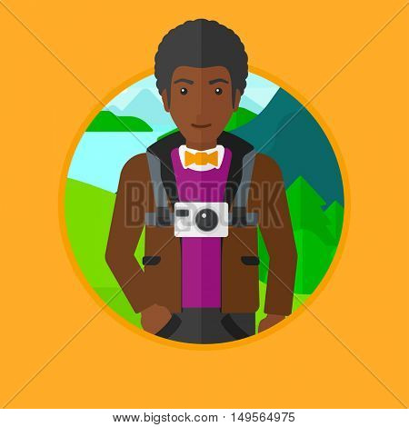 An african-american man with a digital camera on his chest. Tourist with a digital camera standing on the background of mountains. Vector flat design illustration in the circle isolated on background.
