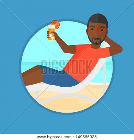 An african-american man sitting in a chaise longue on the beach. Young man relaxing and drinking a cocktail on a sand beach. Vector flat design illustration in the circle isolated on background.