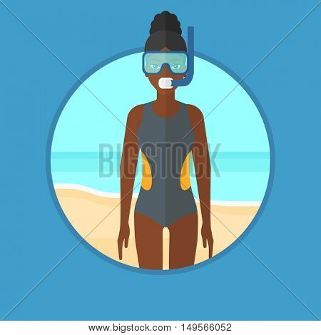 An african-american scuba diver in diving suit, flippers, mask and tube standing on the beach. Young woman enjoying snorkeling. Vector flat design illustration in the circle isolated on background.
