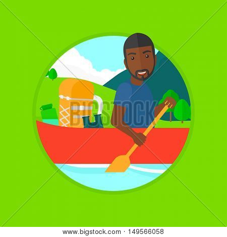 An african man riding in a kayak on the river with a skull in hands and some tourist equipment behind him. Man traveling by kayak. Vector flat design illustration in the circle isolated on background.
