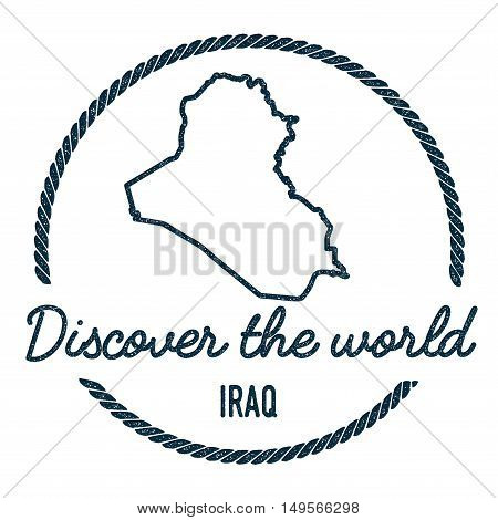Iraq Map Outline. Vintage Discover The World Rubber Stamp With Iraq Map. Hipster Style Nautical Rubb