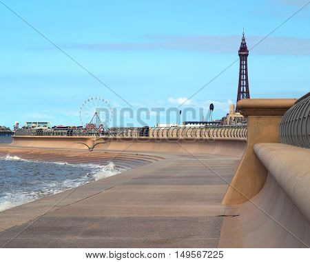 New promenade at Blackpool with Central pier